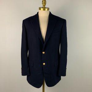 Brooks Brothers 346 Blazer - Blue Wool Gold Mens